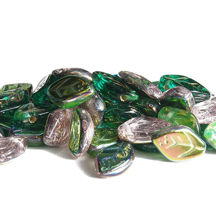 Jewery supplies -Leaves Glass Czech Beads - Light Green, Pink and Turquoise Blue 7х12 mm -White Giraffe