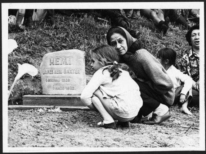 Jacquie Baxter and Stephanie at the unveiling of the gravestone of James K Baxter - Photograph taken by a Dominion staff photographer