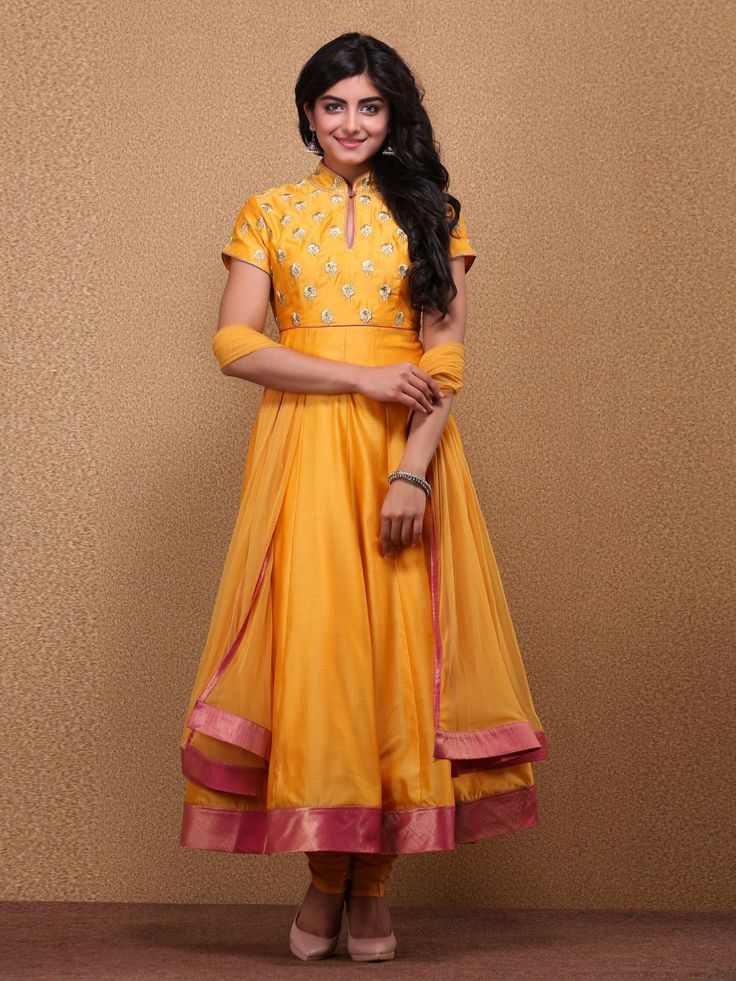 Mango Yellow Anarkali Cotton Silk Suit Set By Rohit Bal