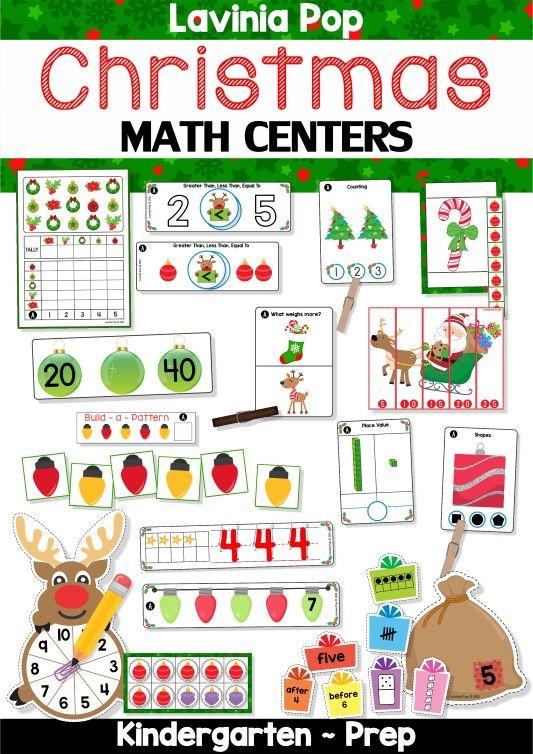 FREE Christmas Math Centers for Kindergarten.