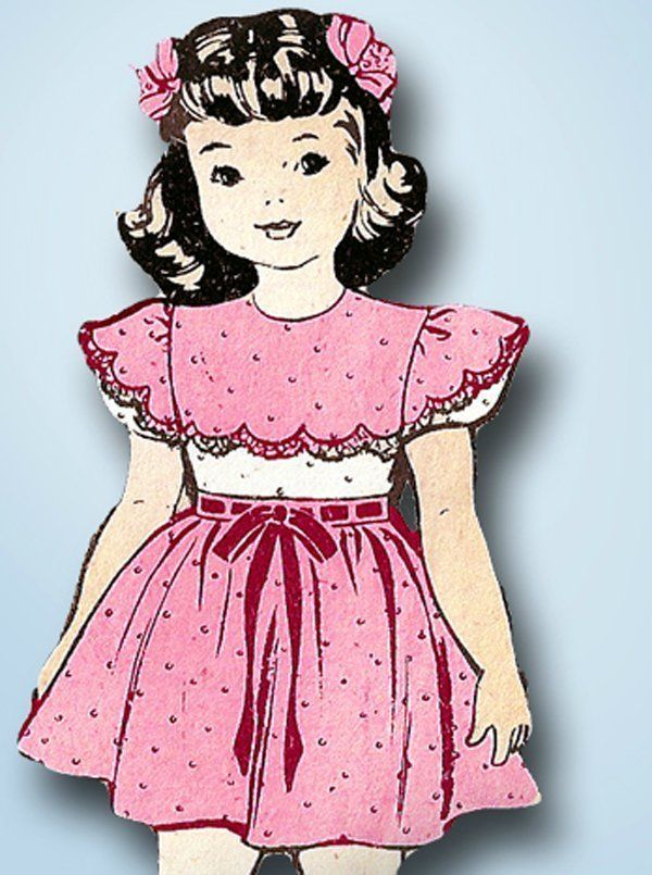 1940s Vintage Toddler Girls Party Dress VTG Anne Adams Sewing Pattern Size 2 #AnneAdamsPattern #DressPattern