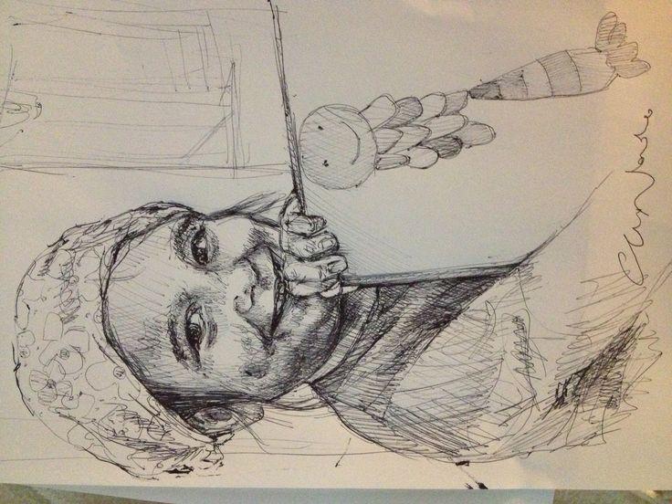 Franci - black pen drawing by Chiara Nardo