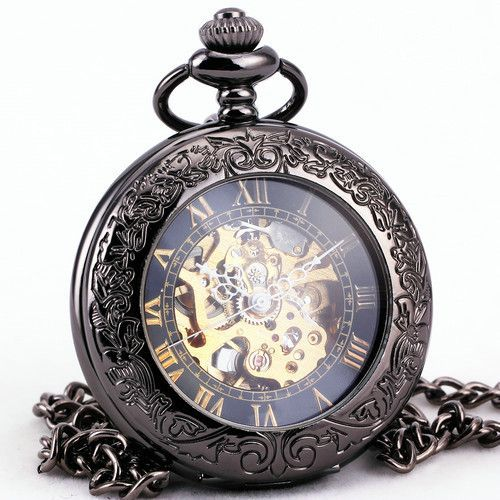 TD Uni Steampunk Retro Vintage Antique Automatic Mechanical Pocket Watch Pendant Chain Clock + BOX Alternative Measures