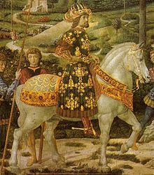 """Benozzo Gozzoli (1420-1497) : """"Ritratto dell'imperatore Giovanni VIII Paleologo di Bisanzio , particolare della Cavalcata dei Magi"""" 1459 , affresco parete sud Cappella dei Magi , Palazzo Medici Riccardi , Firenze .///"""