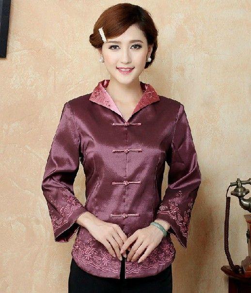 Free shipping ! Fashion Brown Chinese Women's clothing Polyester Satin Blouses Shirt tops Size M L XL XXL XXXL 4XL 5XL TM7 #Affiliate