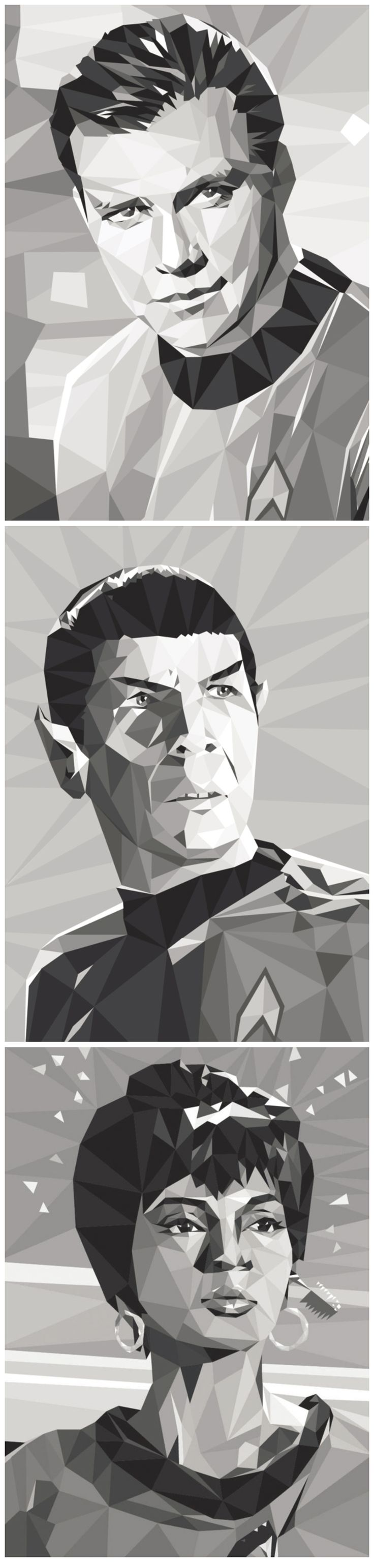 Kirk, Spock, Uhura -- by Cat Lines