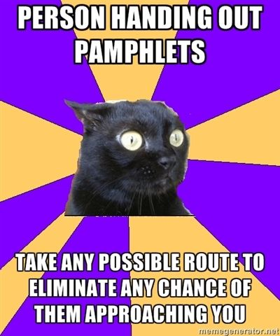 "Anxiety Cat Meme- I actually do this...or in the malls w kiosk people remember ""NOOOOOOOO"" to that guy lol"