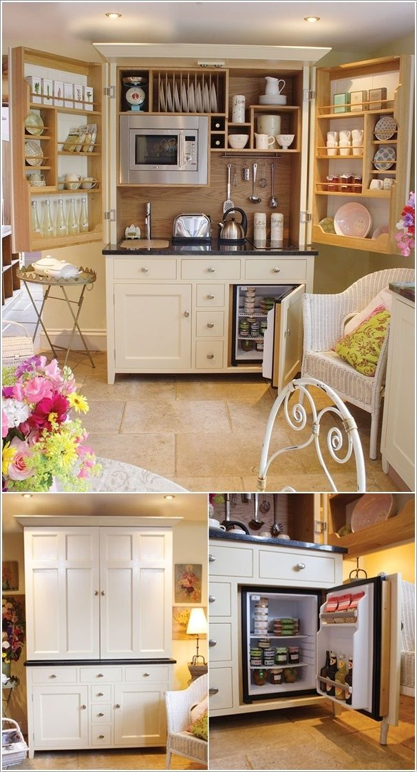 Free Standing Fold Out Kitchen Equipped with Everything You Need in a Kitchen.... for a small space?...... I have the top photo pinned, but never saw how it looks closed up... I still want it very badly!!... got to keep looking to see what's behind the bottom left side door if the mini fridge is in the right one...... I love this idea..found out it's from the UK: http://www.culshawbell.co.uk/completekitchenette.html