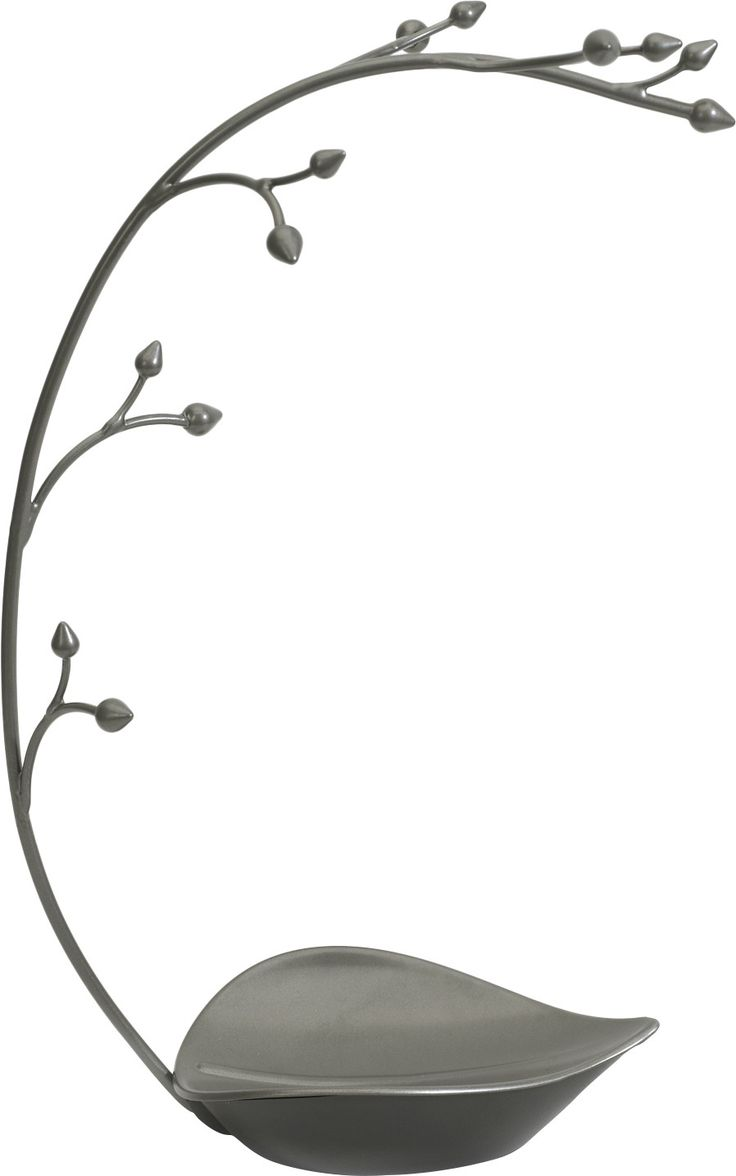 Features:  -Organizes and displays necklaces, bracelets, rings and more.  -Buds along stem provide 12 spots for hanging.  -Leaf shaped dish at base holds rings.  Product Type: -Jewelry stand.  Shape: