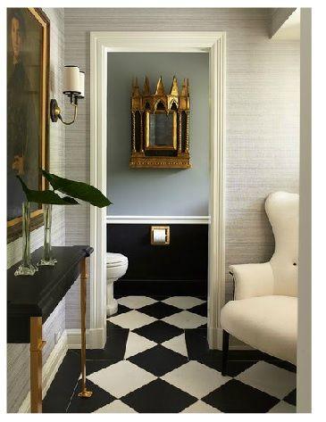 Love the floor config at the doorway - Jean Louis Deniot #floor #wallpaper #gold