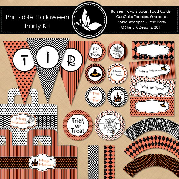 Halloween free party printable pack: Halloween Parties, Printable Halloween, Party'S, Parties Printable, Free Halloween, Party Printables, Halloween Printable, Free Printable, Parties Kits