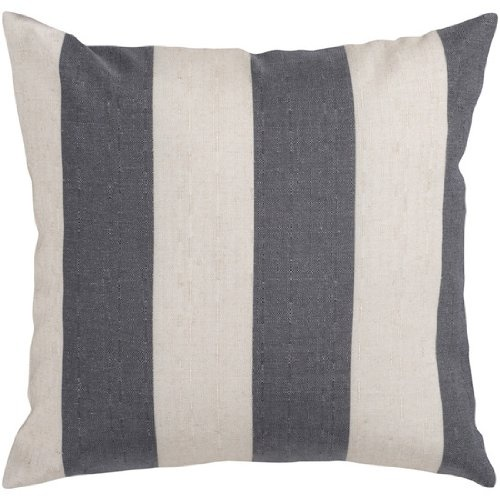 18 Gray and Ivory Thick Striped Decorative Throw Pillow