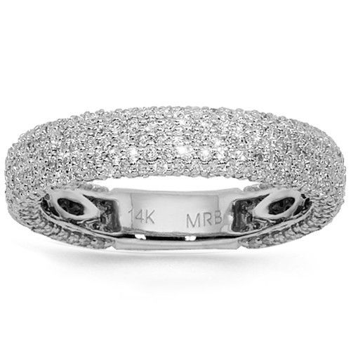 This womens diamond wedding band is crafted in gleaming 14K white gold. The band features numerous pave set round cut diamonds. This elegant wedding band is an ideal gift for the whole who appreciates class and fashion. $1,676.00