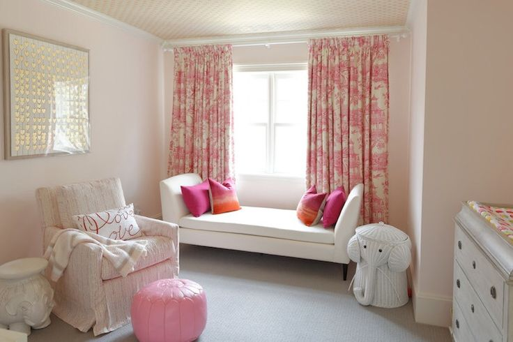 love settee by window and wallpapered celing Meredith Heron Design - nurseries - Ellie Side Table, Elephant Hamper, Cartier Hearts, nursery, wallpapered ceiling, white settee, pink toil...