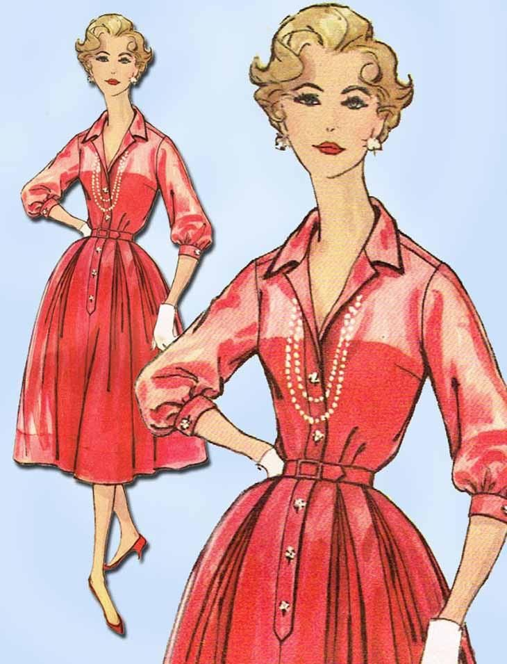 """Simplicity Pattern 2412 Misses' Dress Pattern Rockabilly Style Shirtwaist Dress Pattern Dated 1958 Factory Folded and Unused Nice Condition Overall Size 14 (34"""" Bust)"""