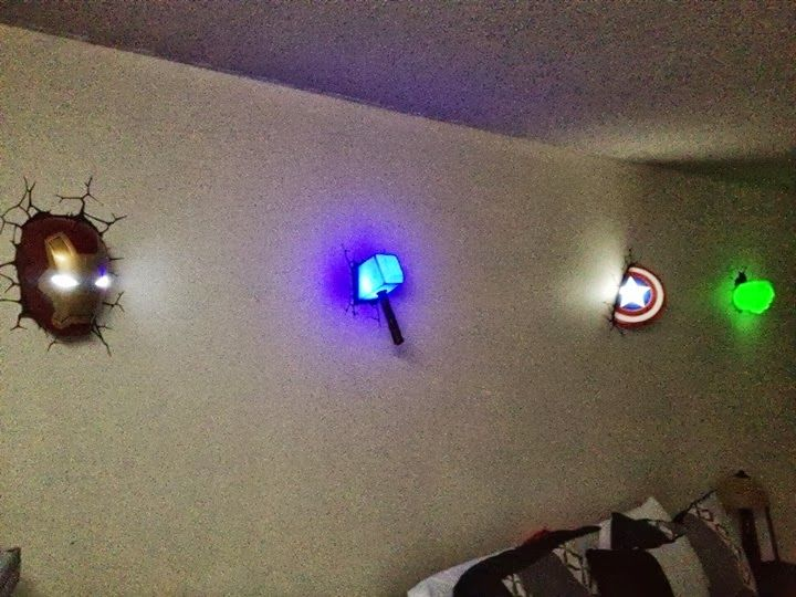 Avengers wall lights for the win! Geek & Gadgets I love Pinterest A well, Spiderman and ...
