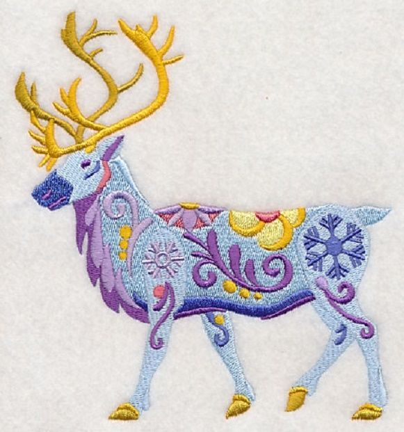 Embroidered flower power caribou quilt block,elk fabric,cushion panel,winter