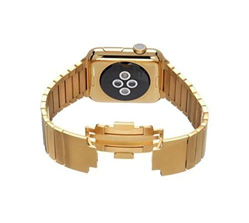 42MM Apple Watch 24K Karat Gold plated w/ Gold Stainless Steel Link   Original Apple Watch stainless steel customized and professionally gold plated by De Billas with an industrial grade of authentic 24 Karat Gold. The Apple W