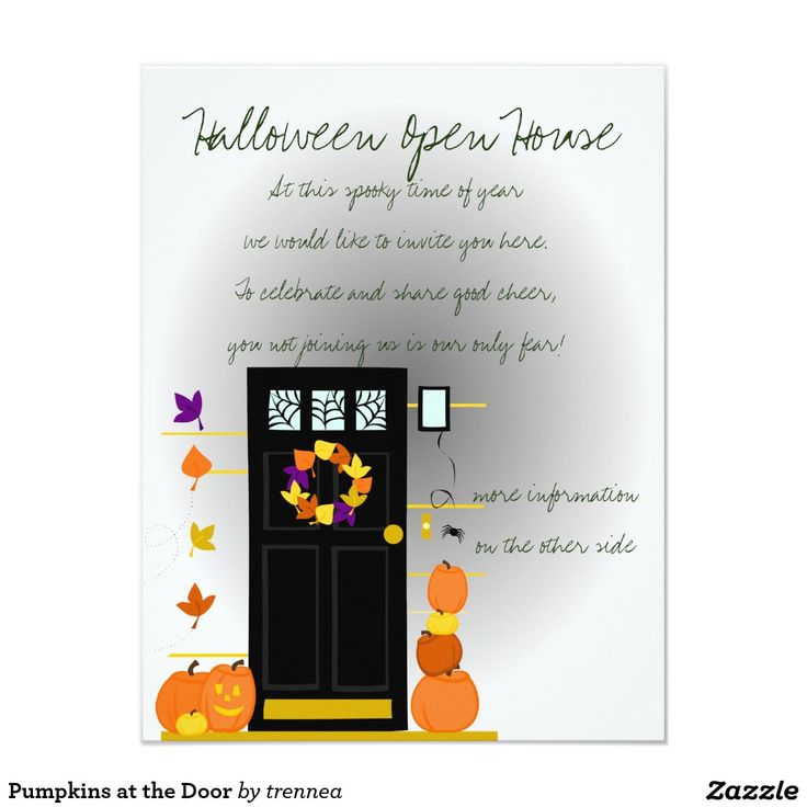 96 best halloween chic invitations images on pinterest halloween halloween open house invite pumpkins at the door 425x55 paper invitation card stopboris Images