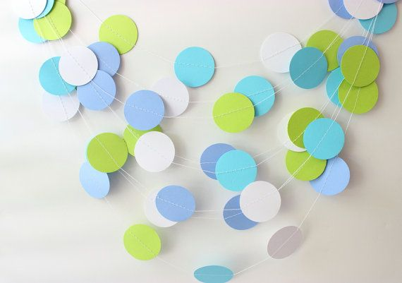 Wedding Garland, Lime Green, Aqua Blue & White Paper Garland 10 ft - Bridal Shower, Baby Shower, Birthday Party Decorations, Kids Room Decor