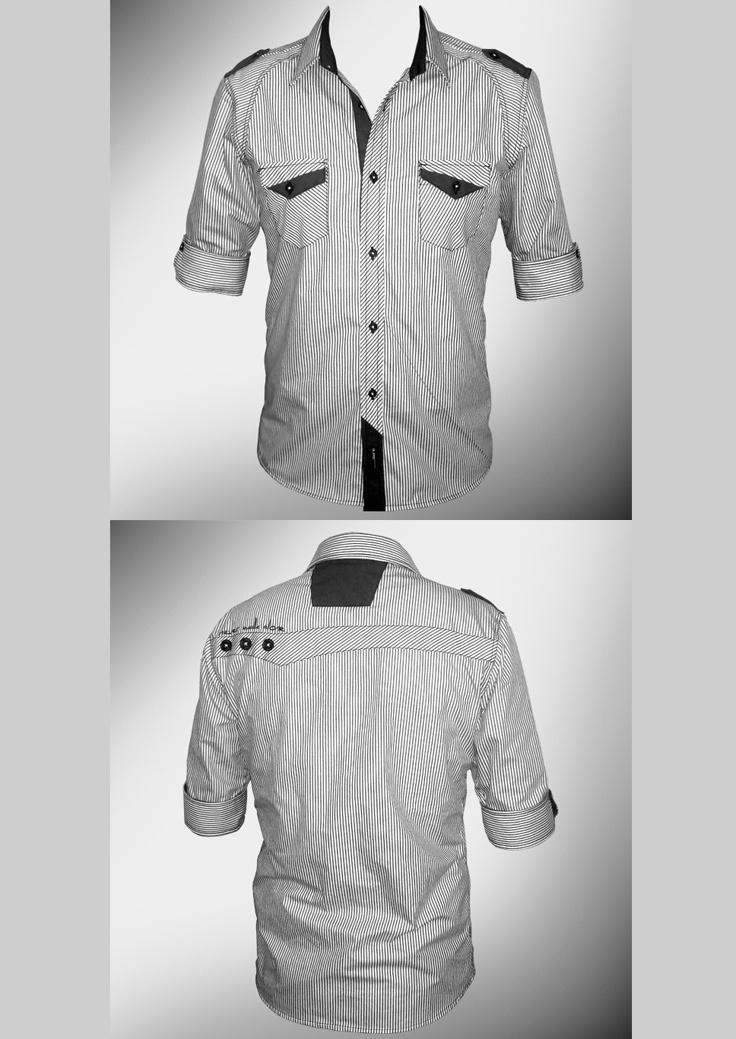 Desarrollo de producto para la marca DKS DIUKAS: Camisa (Tela a rayas con aplicaciones en color Griss oscuro y detalle en espalda de un corte al zesgo con 3 botones y bordado )
