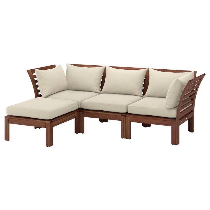 Ikea 3er Sitzelement Aussen Applaro Braun Las Mit Hocker Braun Las Hallo Beige Beige Tiefe 80 Cm Hohe 78 Cm In 2020 Modular Sofa Sofa Outdoor Sectional Sofa