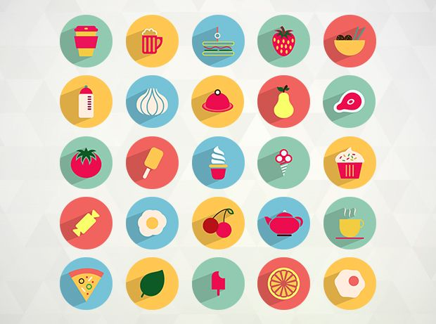 50 Flat Food and Drink Icons  http://www.templatemonster.com/blog/delicious-foodie-freebies-restaurants-culinary-blogs/