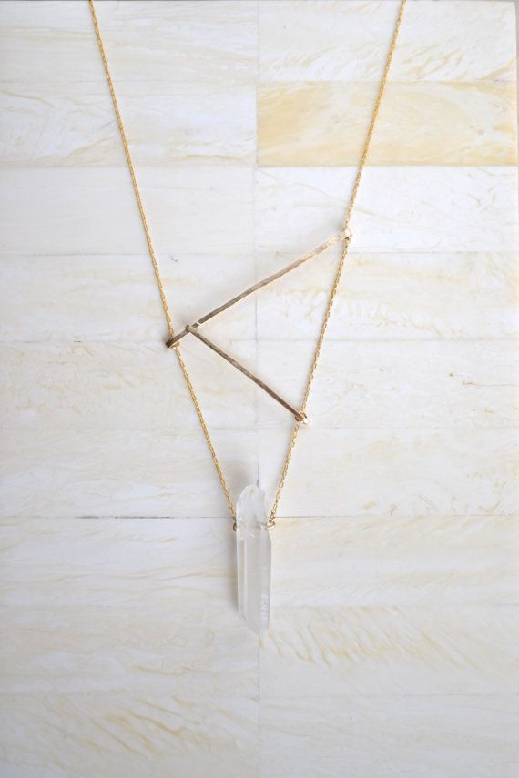 // FLAT 128 Hammered Bar Necklace Gold Geometric Necklace Gold by SummerBucket