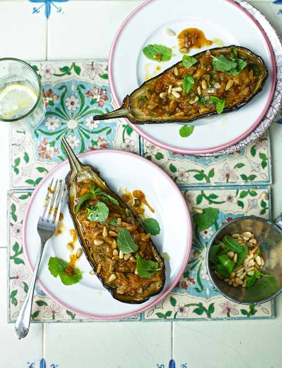 Phase 3: Turkish stuffed aubergines (eggplants) with pine nuts and fresh mint - looks fantastic. (Metric translation: Use 1/3 cup pine nuts and a 1-ounce package of fresh mint.)