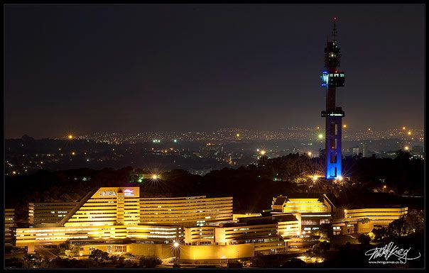The Iconic Telkom Tower and The University of South Africa UNISA Buildings at Night Photographed from Fort Schanskop Near the Voortrekker Monument Just Outside Pretoria. From Mitchell Krog's Urban Night Photography Portfolio. (Copyright Mitchell Krog - All Rights Reserved)