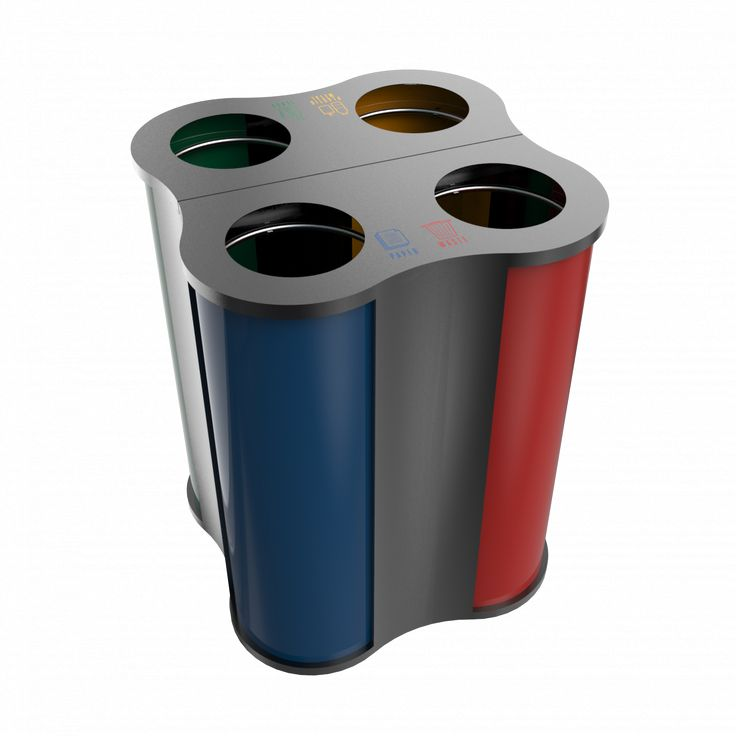 POLARIS PC - Unique style modern powder coated metal recycling bin island
