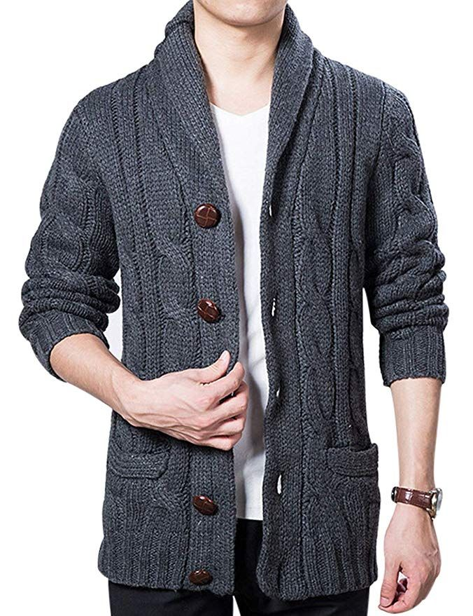 a8f27a8f95 Lentta Mens Heavy Weight Shawl Collar Button Down Cable Knitted Cardigan  Sweater (X-Small