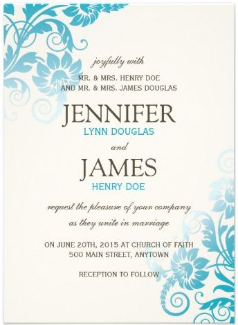 Fully Customizable - Shades of Teal Wedding Invitation.