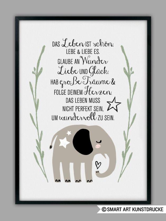 Zum Motiv: Sehr liebevoll illustrierter Elefant, der Dich jeden Tag daran erinnern soll, wie großartig das Leben ist ;-)  Der angegebene Preis (9,90 Euro) ist für eine DIN A4 Größe. Wenn Du...