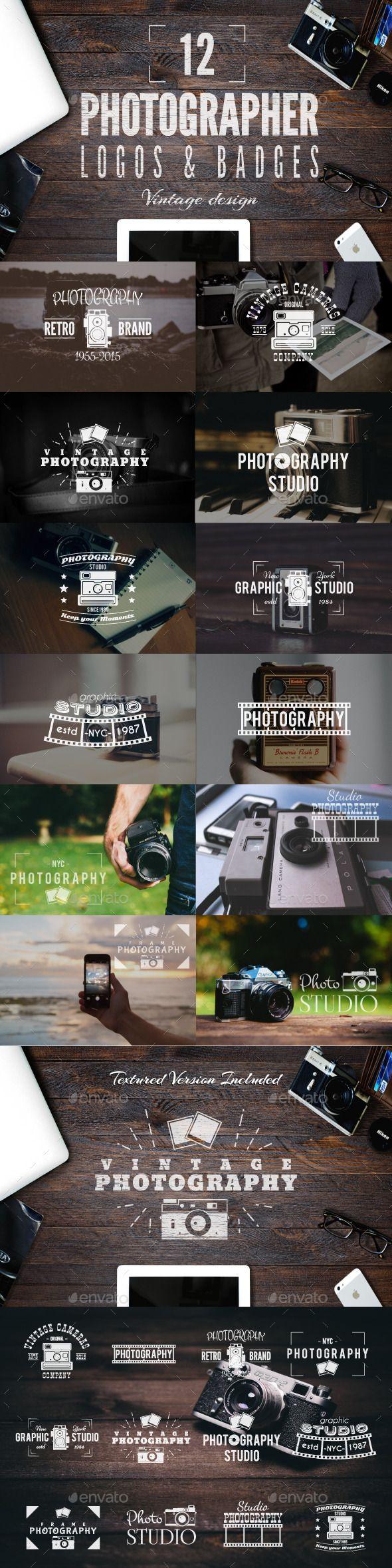Retro Photography Badges Set #design Download: http://graphicriver.net/item/retro-photography-badges-set/12785017?ref=ksioks