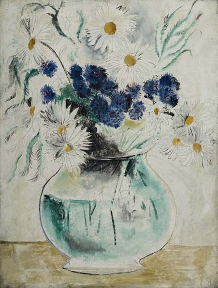 Christopher Wood - Daisies and Cornflowers in a Glass Bowl