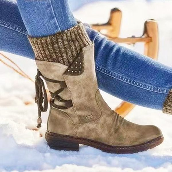 Womens Ladies Autumn Winter Boots Mid Calf Fashion Warm Snow Boots Cowboy Shoes