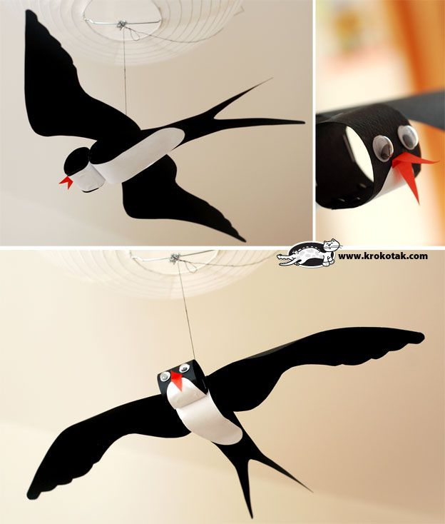 Flying bird.  Ok, the instructions are in Russian, but the pictures and printable template are so clear, this would still be easy to make.  by лястовичка
