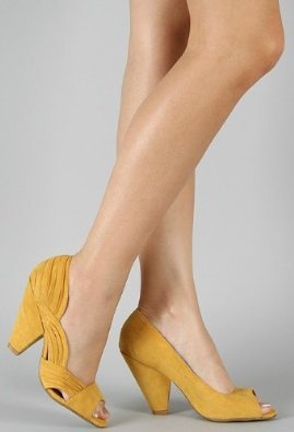 $32.50 Amazon.com: Qupid New Women High Thick Heel Vintage Cutout Fux Suede Open Toe Mustard Shoes RICO-20: Shoes