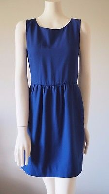 J-Crew-Factory-Women-039-s-Career-Office-Blue-Sleeveless-Ruched-Dress-Size-2