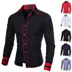 Camisa De los hombres Casual / Trabajo / Formal / Deporte / Tallas Grandes A Rayas / Un Color - Mezcla de Algodón - Manga Larga 2015 – $317.71