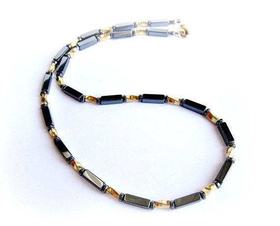 Mens necklace black hematite stone beaded necklace black gold necklace mens jewelry brass necklace stones gift for him italian jewelry