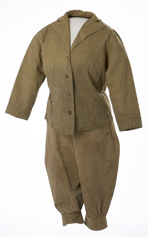 "1910s Woman's Climbing Outfit. Made of tough cotton twill, this three-piece climbing outfit was used by Calgarian Frances Pearce for her outings in the Rocky Mountains with the Alpine Club of Canada. While in camp, Miss Pearce would cover the knickers with a matching flared skirt. The knickers are labeled ""Kamp-It Outing Clothing Utica Duxbak Corporation"".  Via Glenbow Museum."