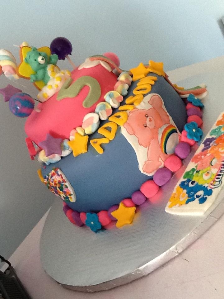 CareBear Birthday Cake! So fun to make, be creative! Colorful marshmallows make this cake super whimsical.