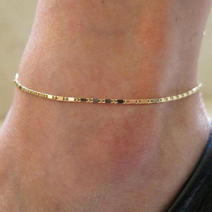 Wanita sederhana emas perak rantai gelang kaki, Gelang kaki, Sandal bertelanjang kaki, Perhiasan pantai kaki
