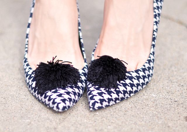 Doesn't have to be houndstooth... Houndstooth heels  with  tassel  poufs-diy houndstooth shoes by ...love Maegan, via Flickr