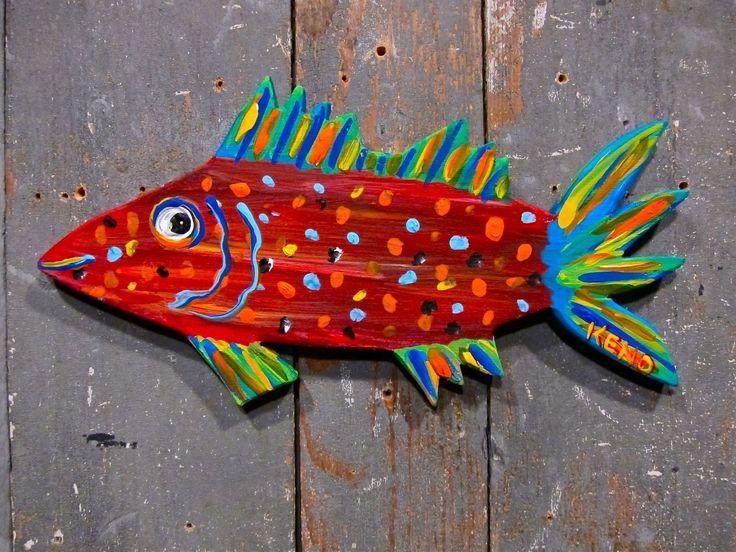 FOLK FiSH WOOD CUT-OUT~painting~Maine outsider Abstract~FOLK ART~COASTWALKER | eBay