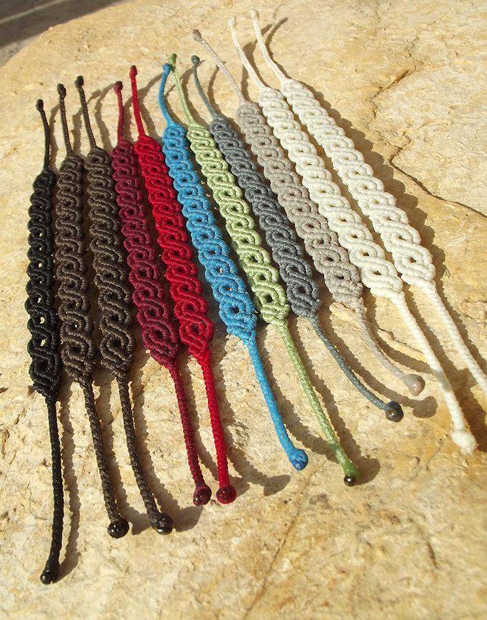 Makramé csomózott textil ékszer, karkötő, macrame, fémmentes http://www.meska.hu/Shop/index/17554