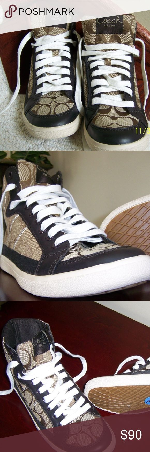 Coach Signature High-Tops Sneakers Ellis Coach Signature High-Top Sneakers Ellis Signature Coach logo pattern on canvas in tan and brown. Women's Size 7.5 B Medium with).   Women's Size 7.5 B (Medium width). Brown leather trim with light cream laces with brown grommets. Cream border soles and natural color bottoms , and non slip pattern soles. Excellent walking, sport playing or up town shoe! Coach Shoes Ankle Boots & Booties