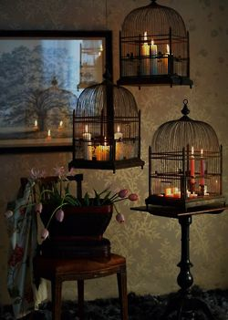 .: Lights, Decor Ideas, Birds Cages, Grand Piano, Cute Ideas, Candles Holders, Birdcages, Vintage Birds, House